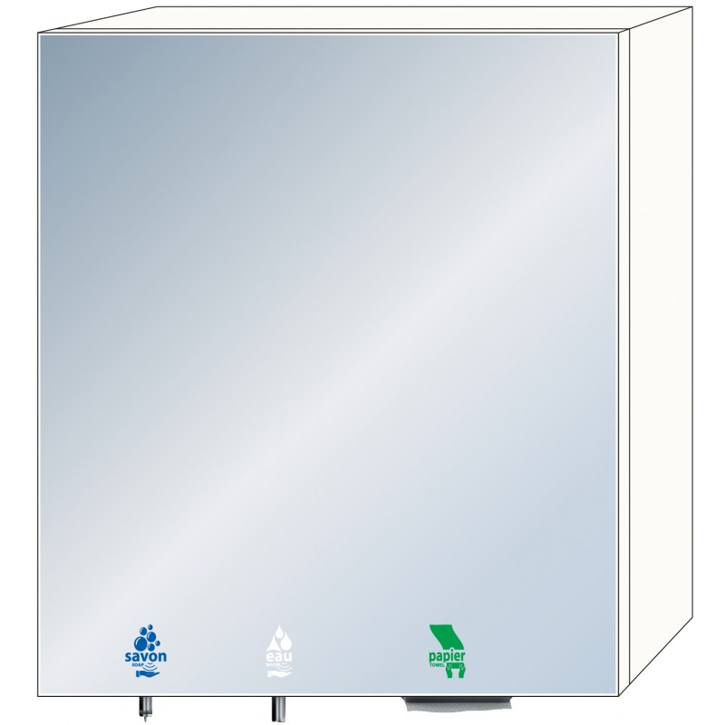 Photo 3-in-1 mirror cabinet for soap, water and paper towels for intensive use RES-865