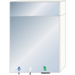 Miniature-1 Module with integrated soap dispenser, water tap and large capacity paper towel dispenser behind mirror. RES-865