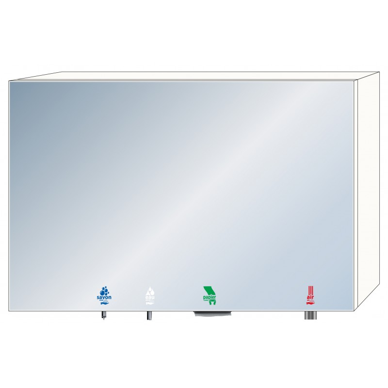 Photo 4 in 1 soap - water - air - paper mirror cabinet RES-867