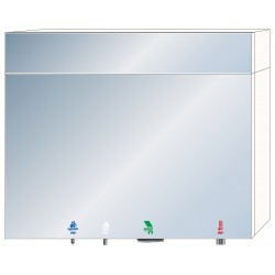 Miniature-1 4in1 mirror module for communal washbasin with fixed fanlight total height 1000 mm RES-867