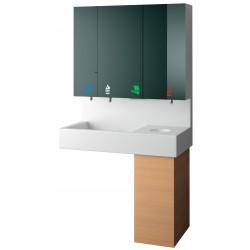 Module meuble haut miroir, lave-mains 5 en 1 savon - eau - papier - gel hydro-alcoolique- poubelle