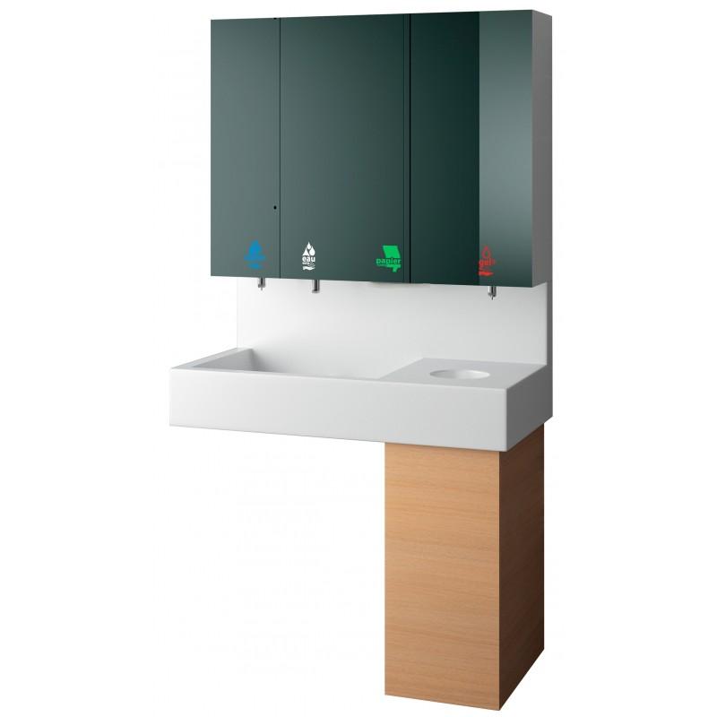 Photo Module meuble haut miroir, lave-mains 5 en 1 savon - eau - papier - gel hydro-alcoolique- poubelle RES-868
