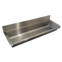 Collective wash basin stainless steel with back splash for mural faucets