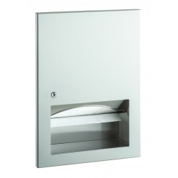 Built-in paper towel dispenser in brushed stainless steel with lock