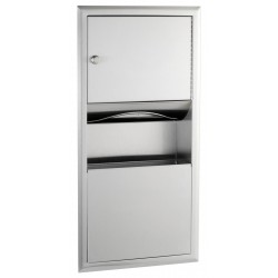 Recessed unit paper towel dispenser and waste bin