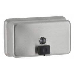 Horizontal stainless steel wall mounted soap dispenser with anti-corrosion pump
