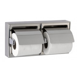 Dispenser double toilet paper in stainless steel wall mounted