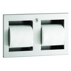WC paper dispenser stainless steel double roll recessed vandal proof