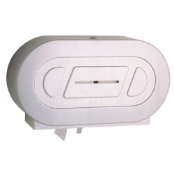 Surface-mounted twin jumbo-roll toilet roll dispenser grand capacity