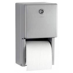 Distributeur de papier toilettes 2 rouleaux inox mural