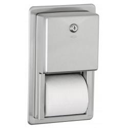 Distributeur papier WC double rouleaux encastré inox