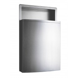 Recessed waste receptacle design in stainless steel