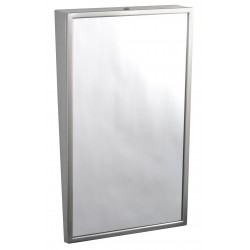 Inclined mirror handicapped access PRM in public areas with stainless steel frame