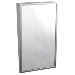 Miroir incliné accessible handicapé PMR en lieux publics avec cadre inox