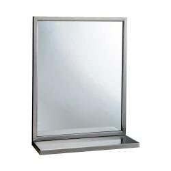 Miroir cadre inox avec étagère pour sanitaire en collectivités