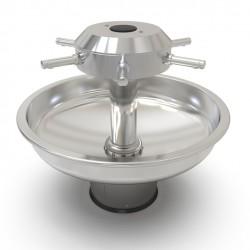 Fregadero circular de acero inoxidable sobre soporte para jardín de infancia