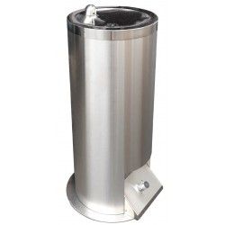 Drinking fountain on foot in stainless steel for collectivities