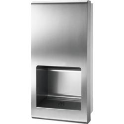 Semi-recessed high-speed hand dryer in stainless steel vandal proof