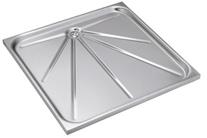 Shower tray in stainless steel
