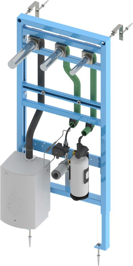 Bâti-support lavabo avec robinet, distributeur de savon automatiques et sèche-mains RONDEO intégrés