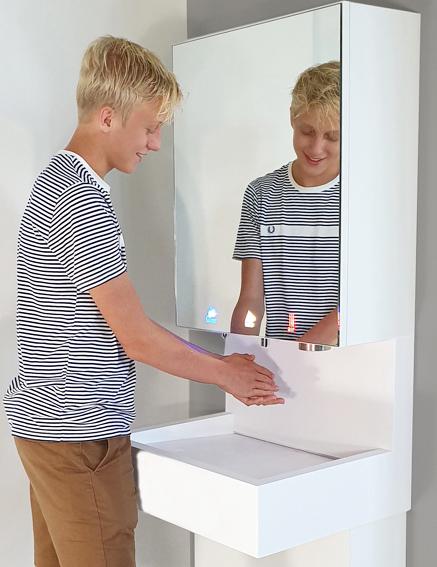 Module miroir 3en1 distributeur savon, robinet automatique et sèche-mains intégrés