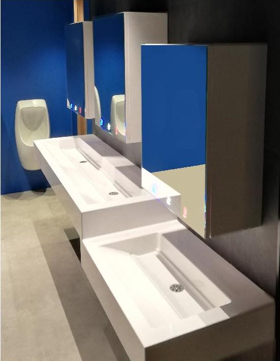 Meuble miroir 3en1 design et robuste pour sanitaires collectfs