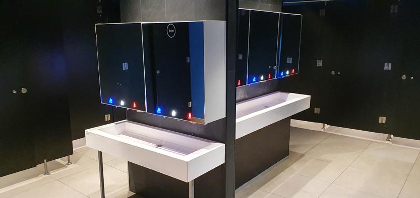 Module miroir robinetterie intégrée pour hotel et restaurant